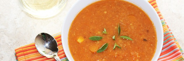 Indian vegetarian recipes: Tomato & red lentil Dahl